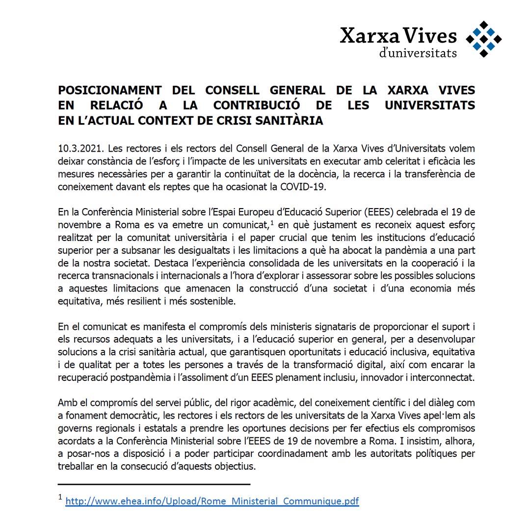 Posicionament del Consell General de la Xarxa Vives en relació a la contribució de les universitats en l'actual crisi sanitària
